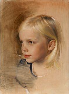 pastel portrait, litte girl