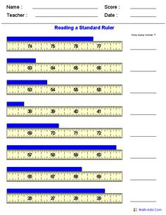 Reading a Tape Measure Worksheets | Math-Aids.Com | Pinterest ...