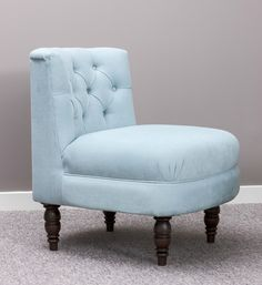 Classic Upholstered Bedroom Chair looks great in powder blue - choice of fabrics or we can use yours #classic #bedroom #occasional #chairs