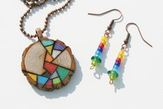 Wood Pendant Necklace with Matching Earrings - Woodburned Design Colored with Prismacolor Pencil - Rainbow Colors. $26.00, via Etsy.
