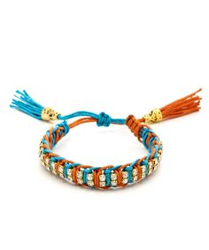 Wrapped Up Rhinestone Bracelet - Orange and Turquoise