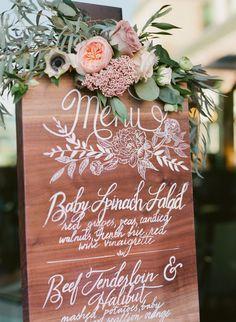 Al Fresco Colorado wedding menu sign: http://www.stylemepretty.com/colorado-weddings/boulder/2015/12/01/elegant-intimate-al-fresco-colorado-wedding/ | Photography: Laura Murray Photography - http://lauramurrayphotography.com/
