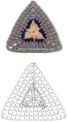 Transcendent Crochet a Solid Granny Square Ideas. Inconceivable Crochet a Solid Granny Square Ideas. Crochet Triangle Pattern, Crochet Square Patterns, Crochet Motifs, Crochet Diagram, Crochet Chart, Crochet Squares, Love Crochet, Diy Crochet, Crochet Designs
