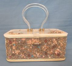 VINTAGE 1950s MIDAS OF MIAMI LUCITE WOOD BOX PURSE SEA SHELLS RHINESTONES BEADS #MIDASOFMIAMI #Box