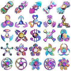 Rainbow Hand Finger Spinner Tri Fidget Gyro EDC ADHD Autism Stress Releaf Toys
