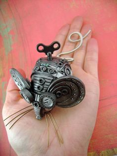 Squ33x No2  Polymer Clay Industrial Steampunk by monsterkookies, OMG it's a little iron mouse-tickory!