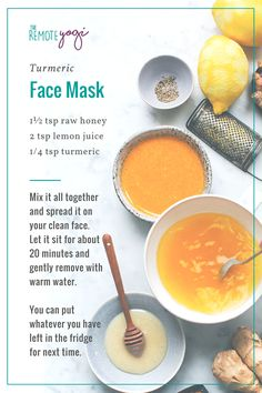 Turmeric is a magical spice that I use to help keep my skin glowing and belly happy. Get my recipes for bloating tonic, turmeric tea, and a turmeric face mask Beauty Tips For Glowing Skin, Beauty Tips For Face, Natural Beauty Tips, Health And Beauty Tips, Natural Skin Care, Beauty Hacks, Clear Skin Face Mask, Face Skin Care, Diy Skin Care