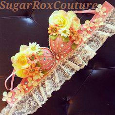 Peach fantasy rave bra. SugarRoxCouture.com