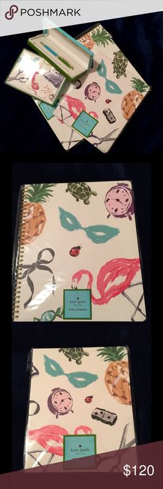Kate Spade Stationary 4pc Set 1 Nom De Plume Ball Point Pen, 1 Favorite Things Card Set (10 Envelopes/10 Cards), 1 Favorite Things Concealed Spiral Notebook & 1 Favorite Things Large Spiral Notebook. All New in packages w/tags Kate Spade Other