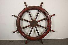 "45"" Ships Steering Wheel Nautical Maritime Decor Primitive Red 45# Vintage Boat"