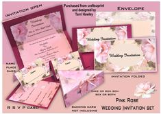 This is a beautiful wedding invitation Kit consisting of the invitation that once printed you can insert your own words.  then you have the matching envelope, and a RSVP card to send with your invitation. you have the name place card and a cake or Bon Bon box or both.  You can dress them up by using backing card or use just as they are.  The invitation can also be used as a menu sheet, or and a order of service.  Have fun.