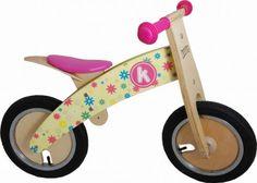 Draisienne en bois KIDDIMOTO KURVE Flower - vélo sans pédales