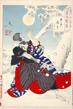 Yoshitoshi Tsukioka.『雪後の暁月 小林平八郎』(『月百姿』シリーズ、作・月岡芳年)