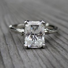 Emerald Moissanite Twig Engagement Ring - Carved Floral Setting - 1.67ct | Esty | $1,975.00 BUT in yellow diamond