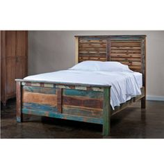 @Overstock - This weathered wooden queen platform bed from India has a  comfortable and durable