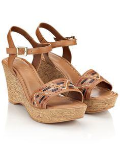 Tan colour wedge shoes