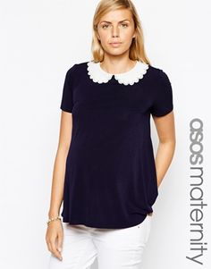 ASOS Maternity Top With Cutwork Contrast Collar