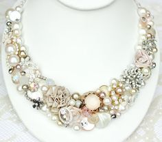 Champagne Pink Wedding Statement Necklace Blush by BrassBoheme