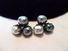 Miriam Haskell Baroque Gray Cream Silver Faux Pearl Vintage Earrings…
