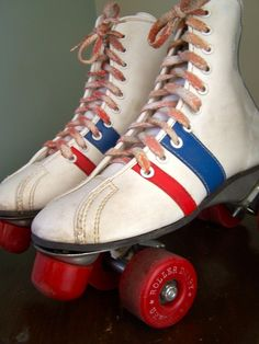 Roller Derby Skates, had these with white poms poms