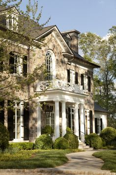 Exterior Like the stone facade and the entryway columns Garden entry to stone house by Howard Design Studio. Balcon Juliette, Juliette Balcony, Green Design, Stone Houses, Exterior Design, Stone Exterior, Old Houses, Curb Appeal, My Dream Home