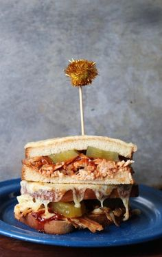 This sandwich is loaded with tender pulled chicken in a sweet and spicy sriracha fig bbq sauce with spicy pickles and a smoked cheddar cheese broiled crust National Grilled Cheese Day, Best Grilled Cheese, Grilled Cheese Recipes, Spicy Pickles, Sweet Pickles, Bbq Chicken Sandwich, Pulled Chicken, Fig Jam, Sweet And Spicy