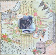 Song Li: DT Project for Discount Paper Craft: Scrapbook layout using prima lyrics collection.