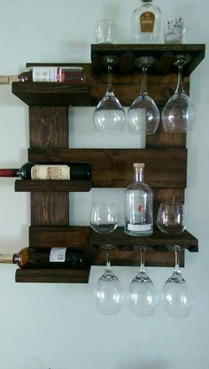 Wall mounted wine rack by Mullinwoodworking on Etsy # diy wine rack rustic Items similar to Wall mounted wine rack on Etsy Hanging Wine Rack, Wine Rack Wall, Wine Glass Rack, Homemade Wine Rack, Home Bar Cabinet, Rustic Wine Racks, Bottle Rack, Rack Design, Wine Storage