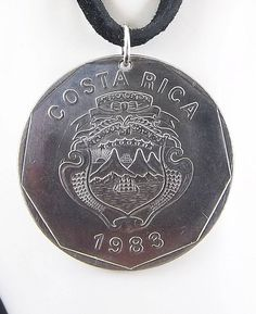 Costa Rica Coin Necklace 20 Colones Coin Pendant Leather