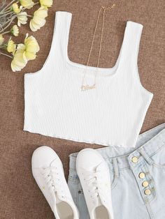 Basic ribbed crop top with square neck - dress up or down! Cheap Crop Tops, Cute Crop Tops, Tank Tops, Women's Tops, Cropped Tank Top, Crop Tank, Cute Casual Outfits, Poses, Athletic Outfits