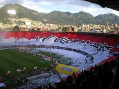 The largest soccer flag in the world belongs to Colombian team Independiente Santa Fe. It measures 350 x 33 meters! Colombian Culture, Soccer Flags, World, Grande, Football, Recipes, Santa Fe, The World, Bogota Colombia