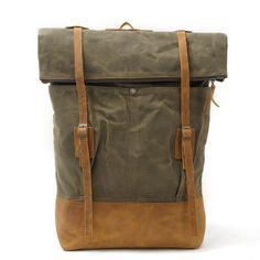 42e3821d70c1 Waxed Canvas Leather Backpack Travel Backpack Rucksack AF40