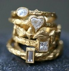 Gold and Diamond Stack Rings