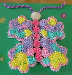 Butterfly Birthday Cake idea (cupcakes instead! Butterfly Cupcake Cake, Butterfly Birthday Cakes, Diy Birthday Cake, Butterfly Party, Birthday Ideas, 13th Birthday, Pull Apart Cupcakes, Cupcake Images, Little Girl Birthday