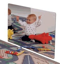 "Put a smile on a child's face with this distortion free Large Classroom Acrylic Plastic Mirror. Great for preschools and therapy clinics, mirrors allow children to learn social and emotional development. We've all seen kids make funny faces into a mirror. They laugh and call their friends over as they make up mirror games.Size: 48""L x 24""H Manufactured in the U.S.A by Made by Jonti Craft Item 0618JC"