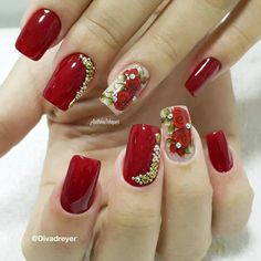 Kylie Nails, Red Gel Nails, Red Acrylic Nails, Short Square Acrylic Nails, The Art Of Nails, Studded Nails, Elegant Nails, Flower Nails, Short Nails