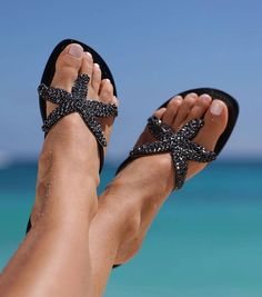 Starfish Black Leather Beaded Sandals by Aspiga Beach Wear! Starfish Sandals, Beaded Starfish, Black Sandals, Leather Sandals, Cinderella Shoes, Beautiful Sandals, Beaded Sandals, Crochet Shoes, Natural Leather