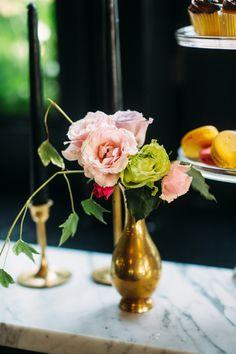 brass bud vase, photo by Jessica Oh Photography http://ruffledblog.com/punk-rock-bridal-shower #weddingideas #flowers