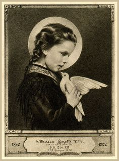 "Saint of the Day – 6 July – St Maria Goretti – Virgin and Martyr, known as ""Saint Agnes of the Century"" October 1890 at Corinaldo, Ancona, Italy – choke… Catholic Store, Catholic Art, Catholic Saints, Patron Saints, Roman Catholic, Religious Icons, Religious Art, St Maria Goretti, Vintage Holy Cards"