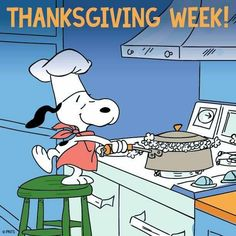 Description: Snoopy cooks popcorn in this Peanuts canvas art. This brightly colored canvas would be perfect in your little chef's bedroom. - Peanuts wall art featuring Snoopy - Durable art print on hi Peanuts Thanksgiving, Charlie Brown Thanksgiving, Thanksgiving Messages, Thanksgiving Greetings, Charlie Brown And Snoopy, Thanksgiving Crafts, Thanksgiving Cartoon, Thanksgiving Prayer, Peanuts Christmas