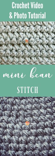 Learn to crochet the mini bean stitch in this photo & video tutorial. mini bean crochet stitch tutorial | mini bean crochet stitch video tutorial | mini bean stitch crochet photo tutorial | mini bean stitch crochet | crochet mini bean stitch | puff stitch crochet