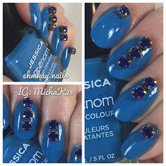 ehmkay nails: Jessica Cosmetics Phenom Fountain Bleu with Born Pretty Rhinestones. USE EHMKAY25 FOR 25% OFF JESSICA COSMETICS AND PDX31 FOR 10% OFF BORN PRETTY
