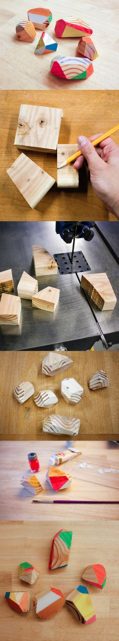 how to make wooden gemstones - you could keep them in a bowl on a table in your home