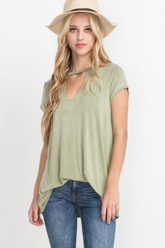 Washed Jersey Cut Out Top