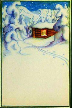 Julekort Thor Wiborg Vinterlandskap m hytte utg. Damm 1940-tallet Christmas Postcards, Thor, Norway, Poster, Magic, Abstract, Illustration, Artwork, Painting