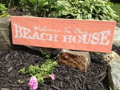 Rustic Distressed Quote WELCOME to our BEACH HOUSE sign Coral Papaya Shabby Chic Weddings Home Decor Beach or Lake House on Etsy, $18.99