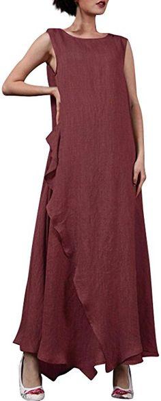 c32f9718cb0 StyleDome Vestido Largo Casual Elegante Fiesta Noche Lino Cuello Redondo sin  Mangas para Mujer (EU