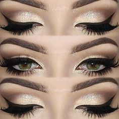 sparkly eyeshadow w/ winged eyeliner Sparkly Eyeshadow, Eyeshadow Base, Glitter Eyeliner, No Eyeliner Makeup, Eye Makeup Tips, Winged Eyeliner, Prom Makeup, Makeup Ideas, Makeup Looks