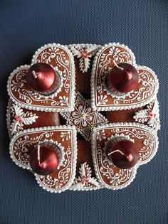 Advent candlestick from decorated gingerbread, Czechia Crazy Cookies, Fancy Cookies, Vintage Cookies, How To Make Cookies, Christmas Desserts, Christmas Baking, Christmas Treats, Christmas Cookies, Christmas Time