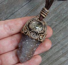FREE SHIPPING Cactus Quartz Pendant Rutilated Quartz Spirit Fairy Quartz Ametrine Drusy Quartz Point Gemstone Healing Necklace Hippie
